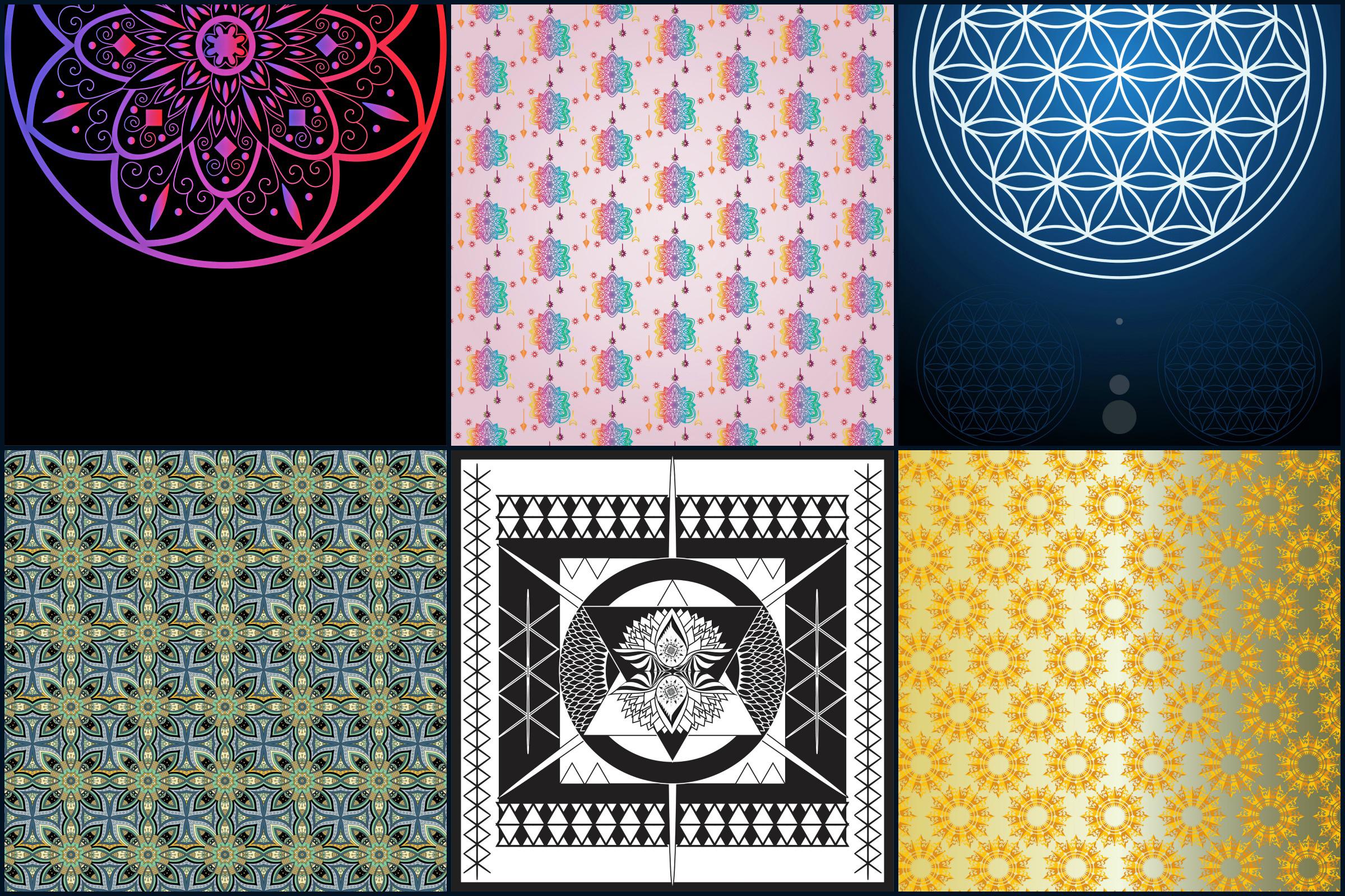 Mandala Digital Papers example image 2