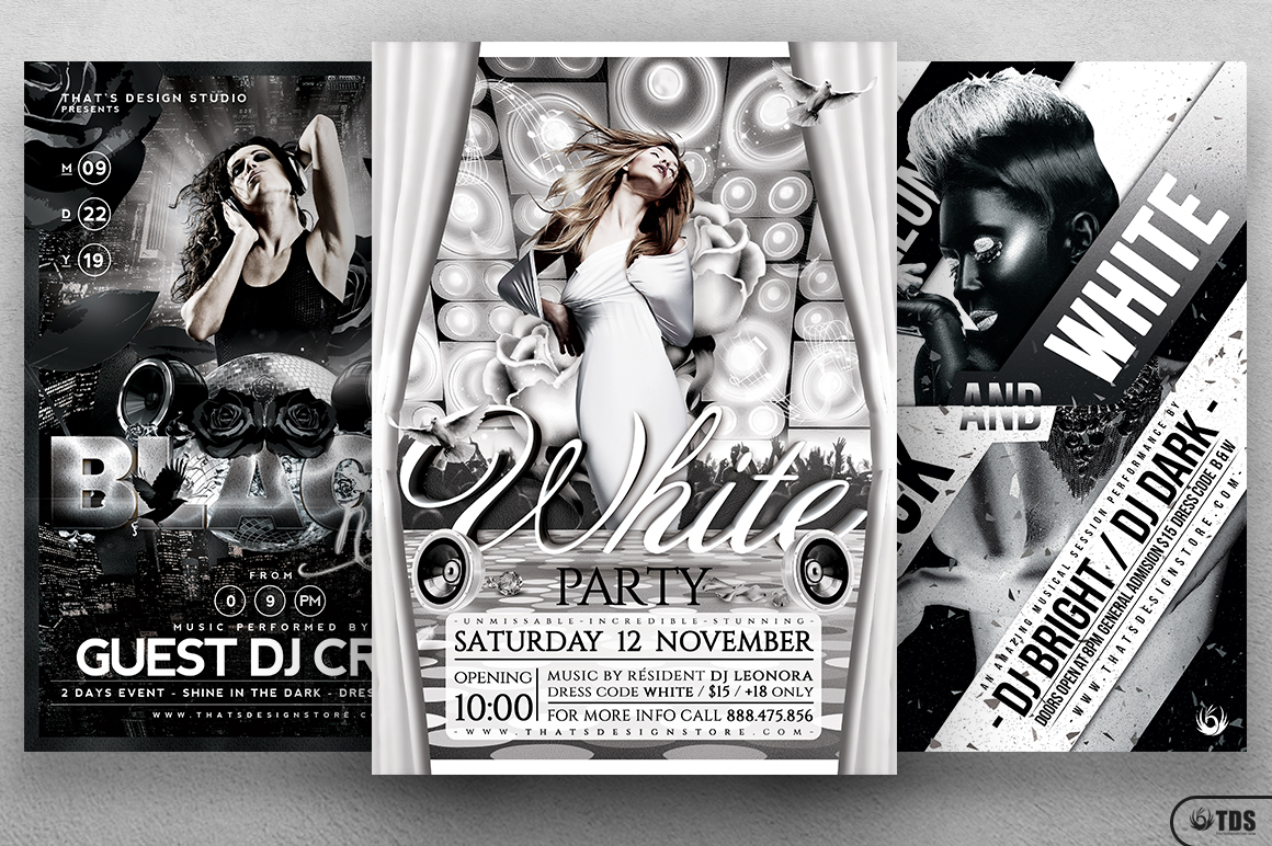Black and White Party Flyer Bundle example image 2