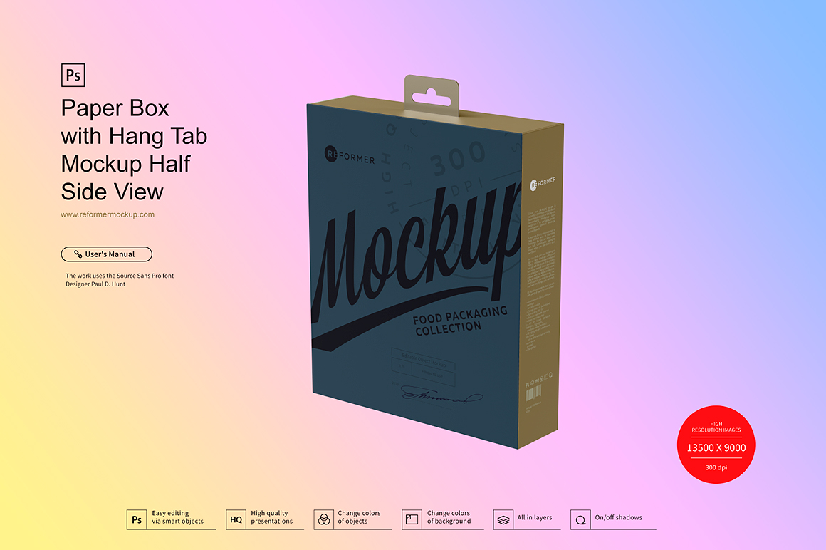 Paper Box with Hang Tab Mockup Half Side View example image 2