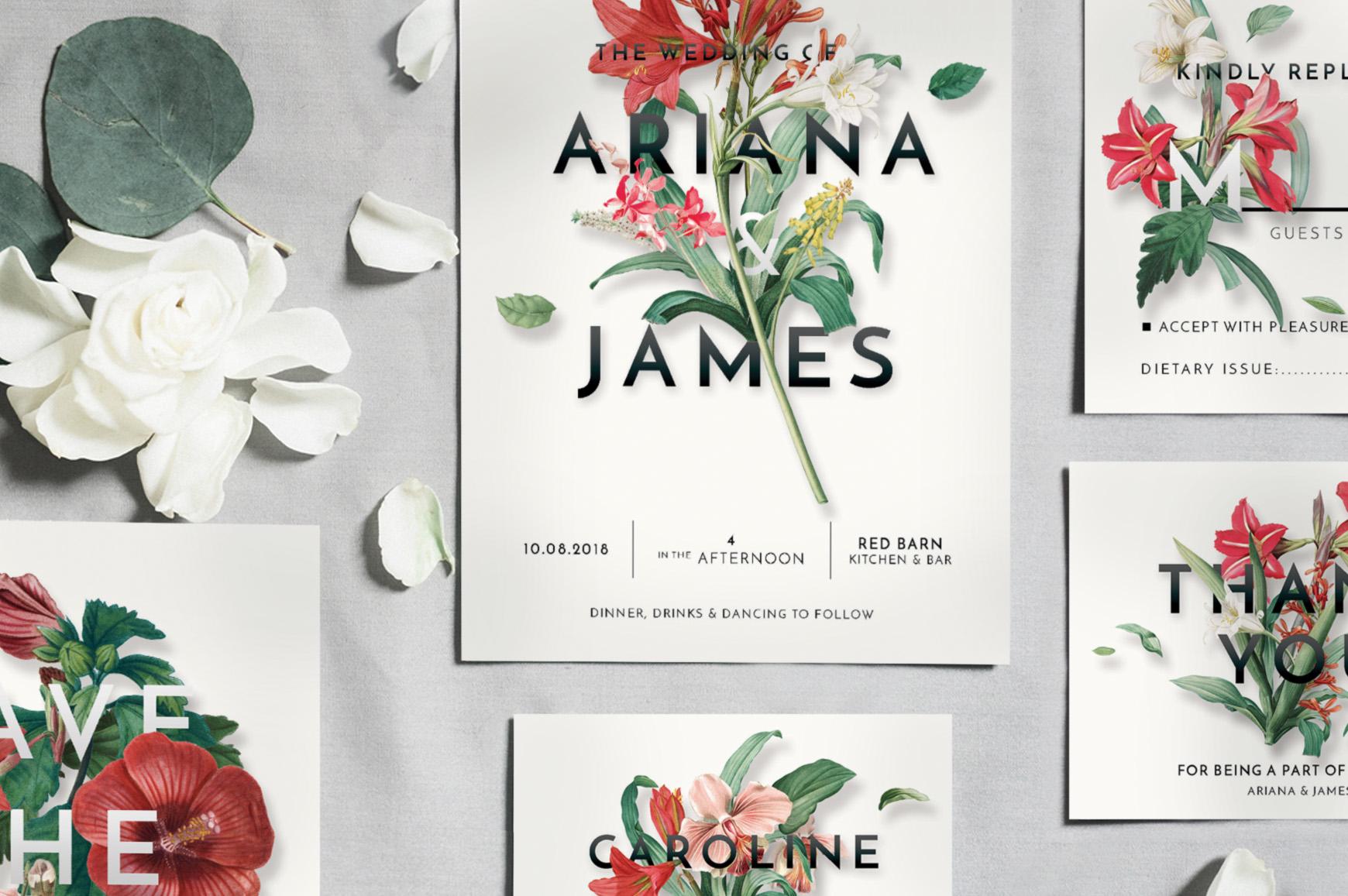 Modern Vintage Floral Wedding Invitation Suite example image 5