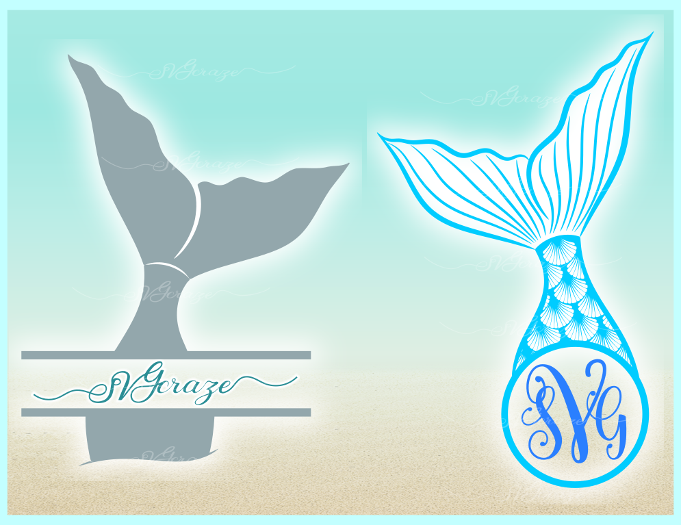Mermaid Tail Monogram Svg Dxf Eps Png Pdf Files For Cricut example image 5