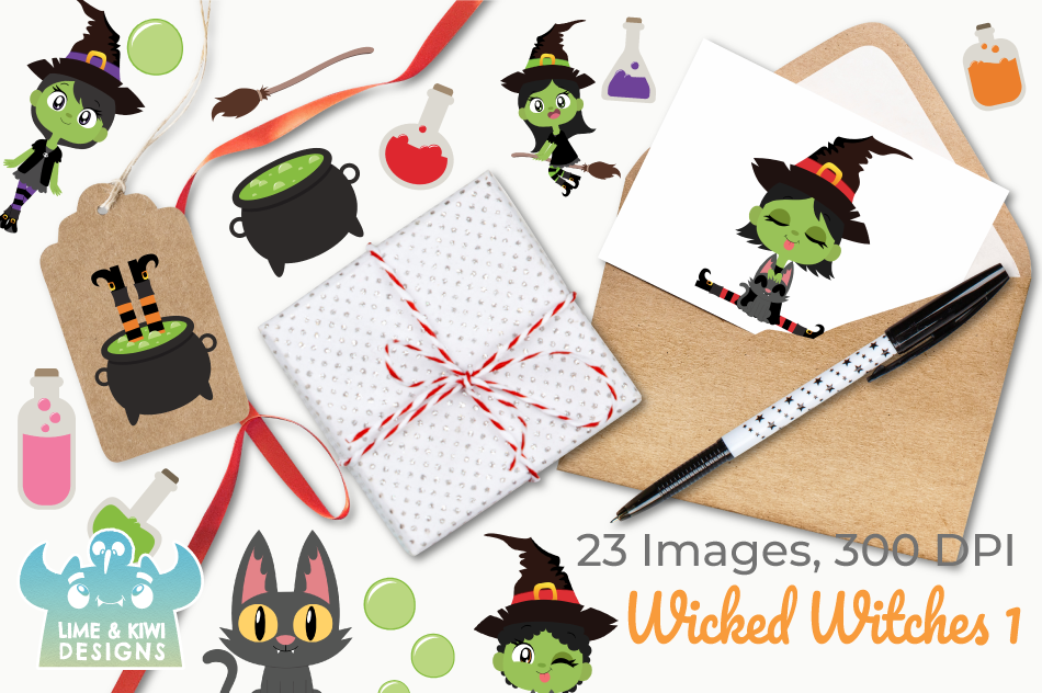Wicked Witches 1 Clipart, Instant Download Vector Art example image 4