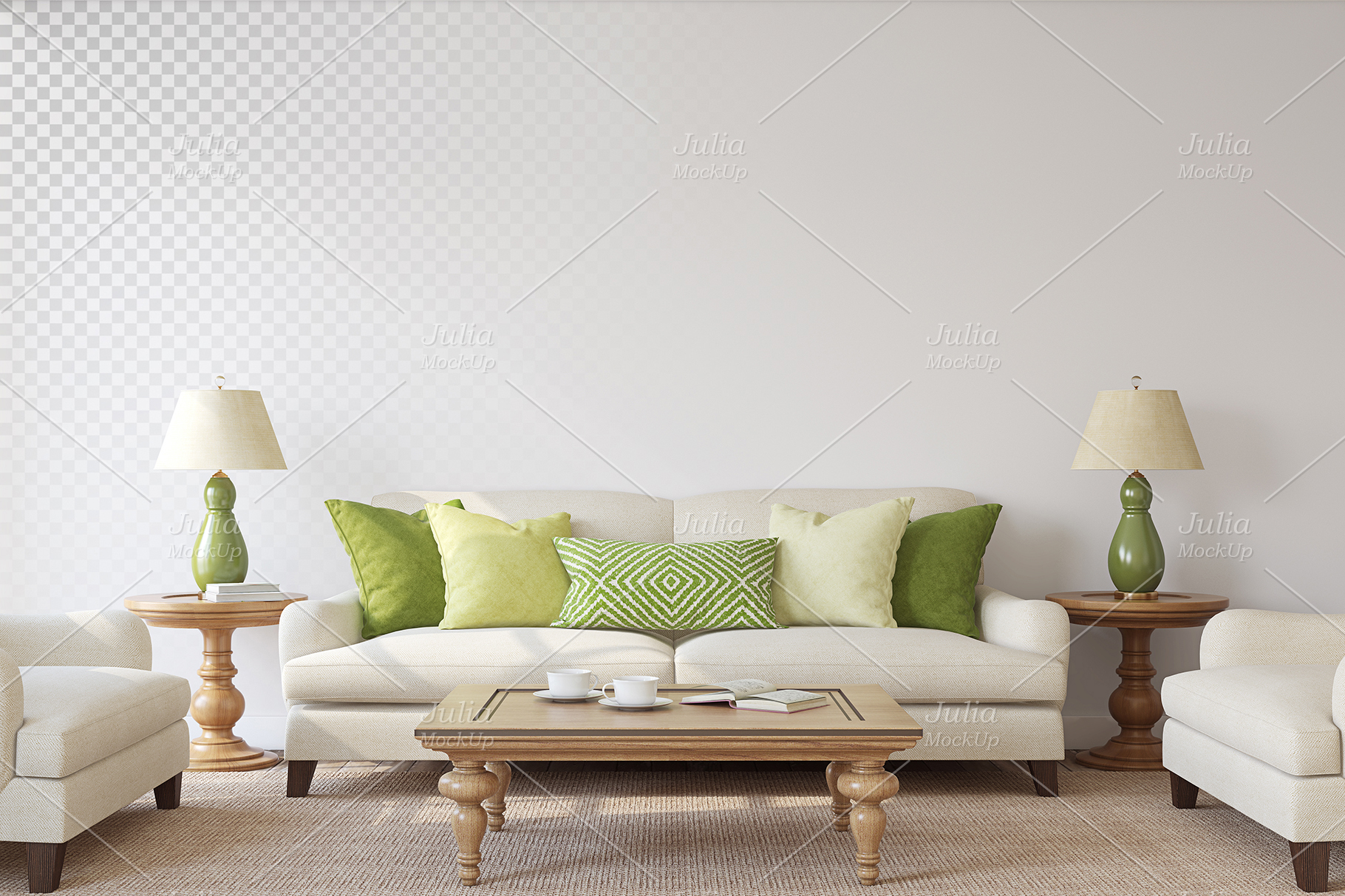 Living-room interiors. Wall&Frames Mockup. example image 4
