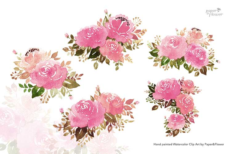 Pink Rose Floral Watercolor Bouquet Set example image 2