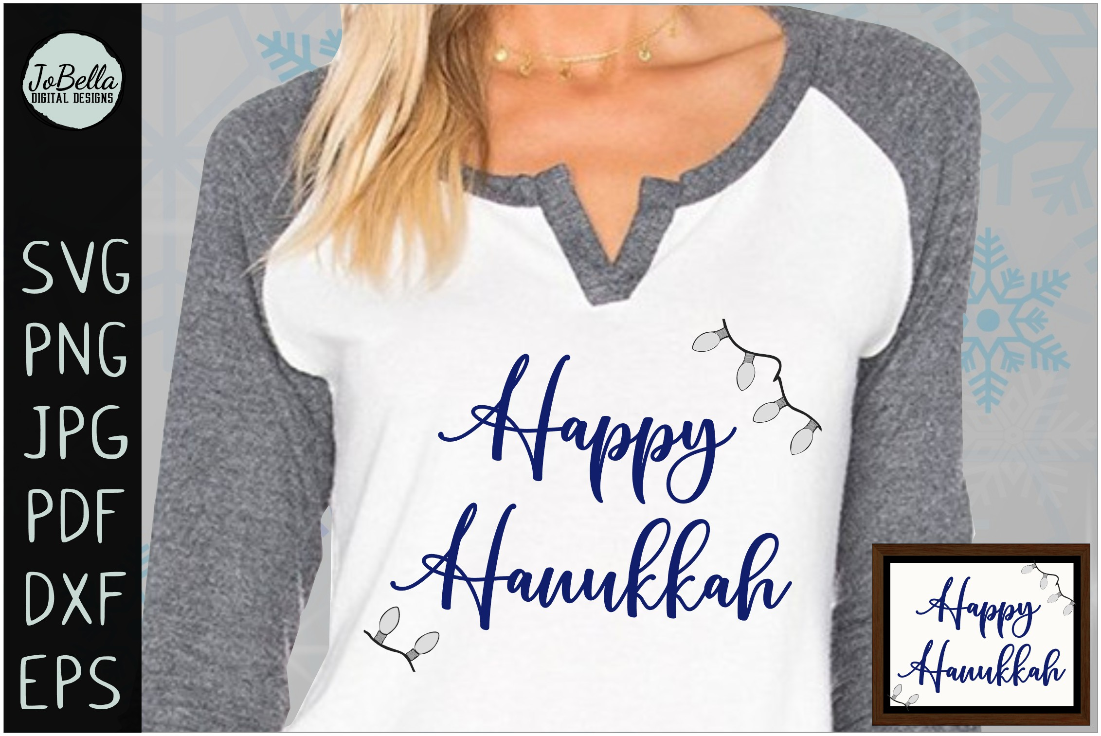 Lights And Happy Hanukkah SVG, Printable and Sublimation PNG example image 2