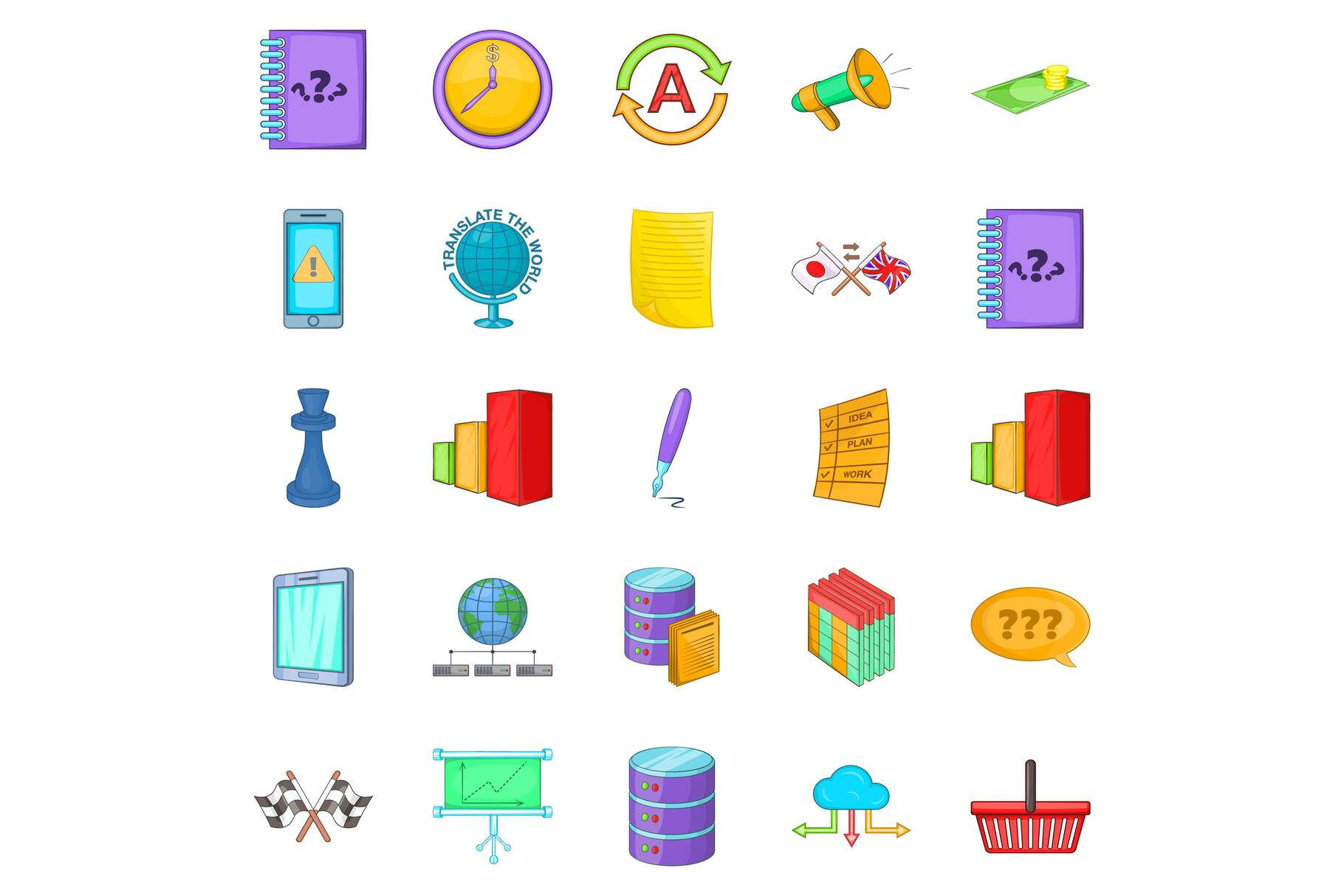 Director icons set, cartoon style example image 1