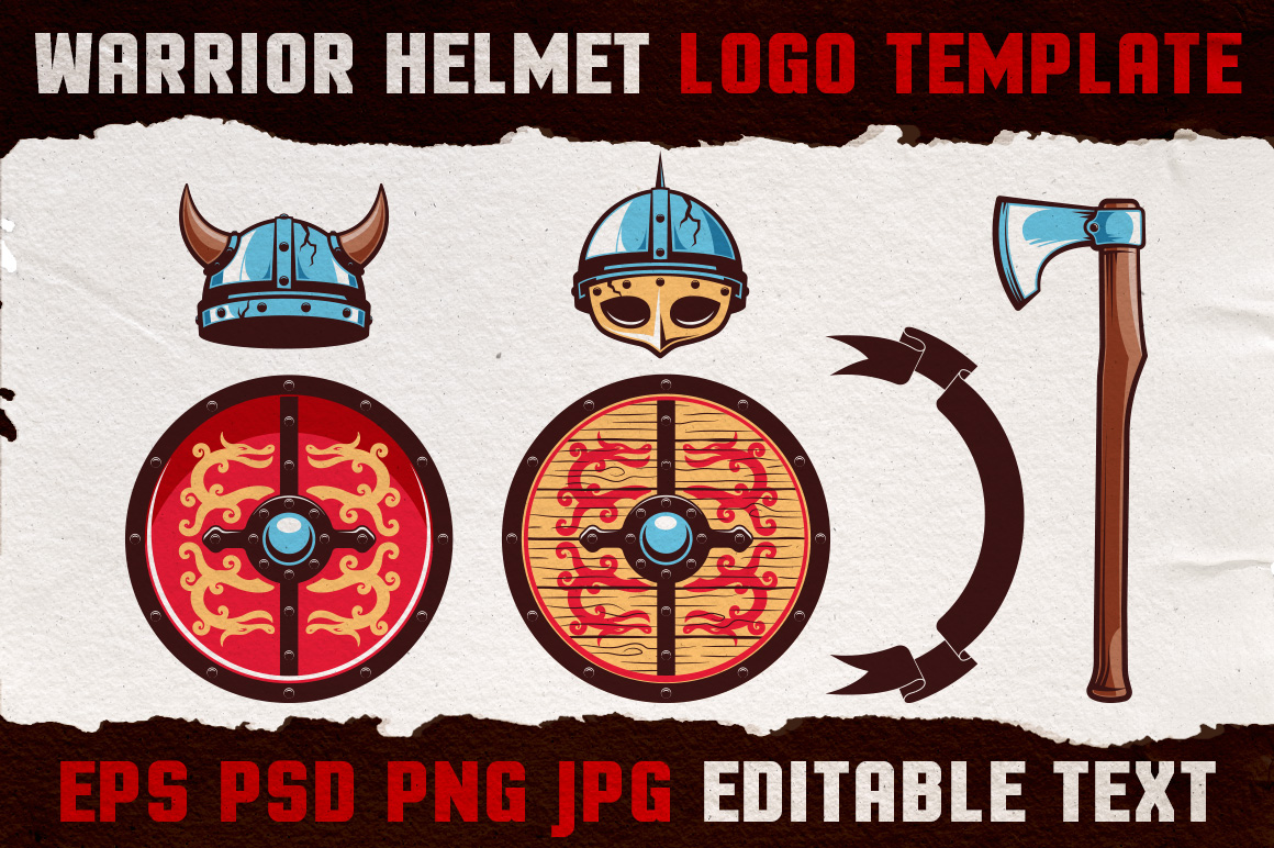Warrior Viking Helmet Logo Template example image 3