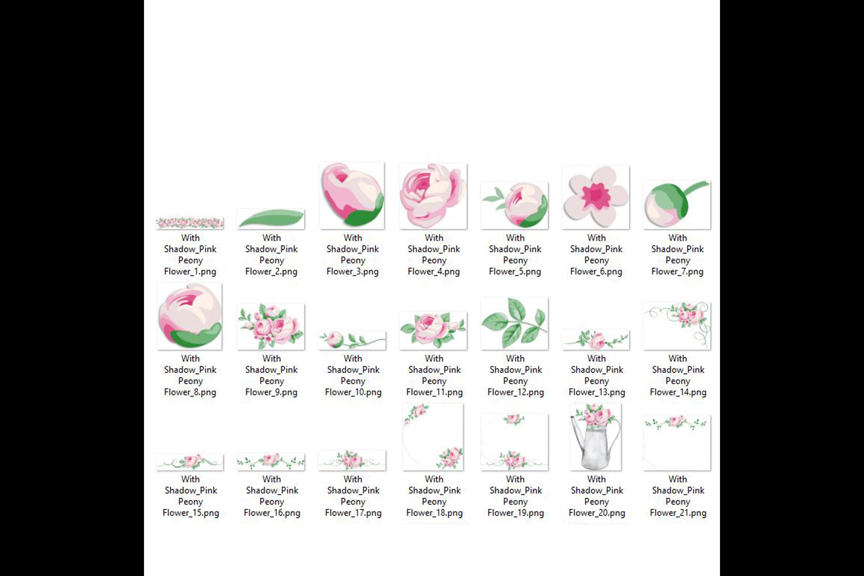 82 Romantic Pink Peony Clip Art Peony Border Bouquet Garden example image 10