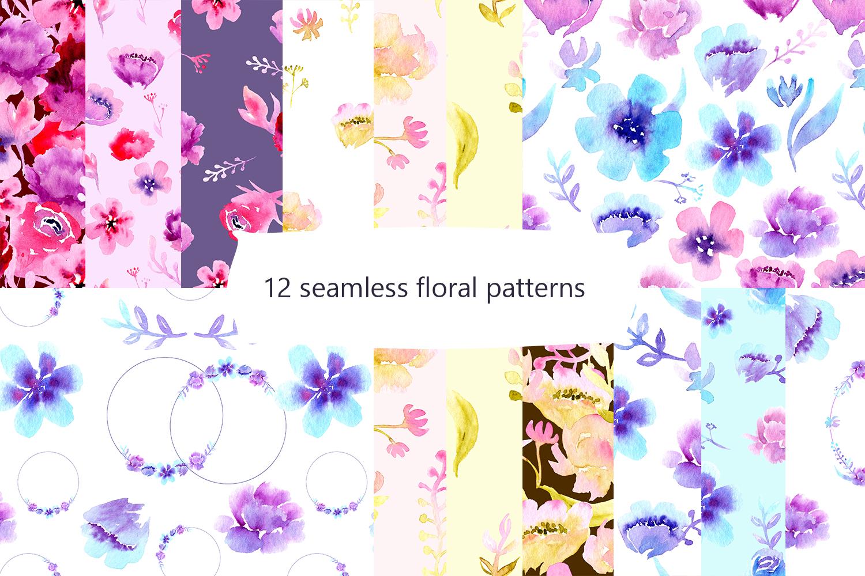 Flower garden Watercolor Clipart example image 2