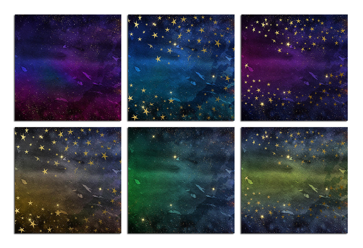Watercolor Gold Stars and Galaxy Backgrounds example image 2