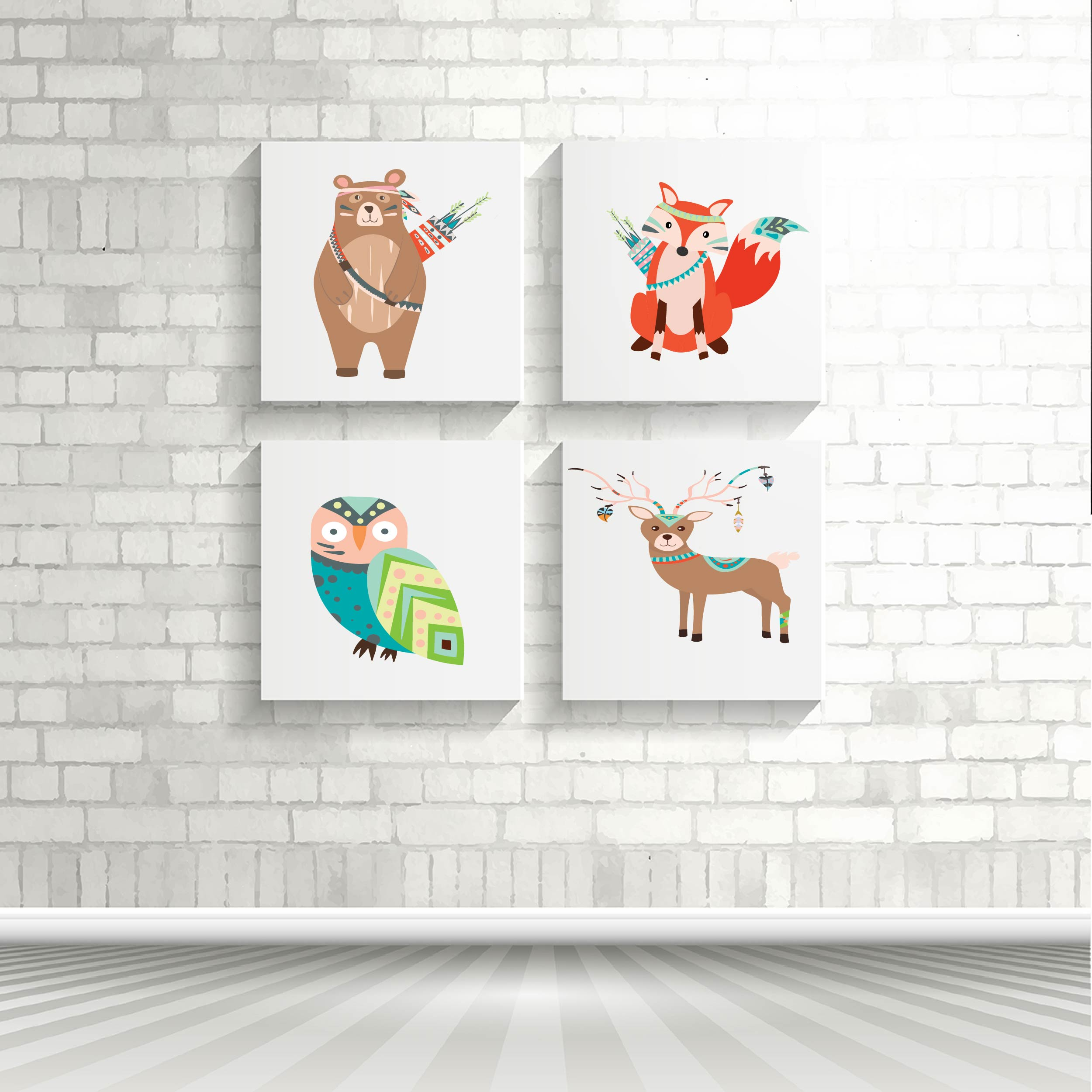 Cute tribal animals illustration Vector Pack example image 2
