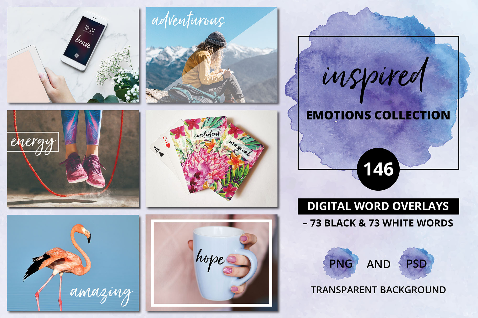 Digital Word Clipart BUNDLE - 392 Happy & Inspired Emotions example image 9