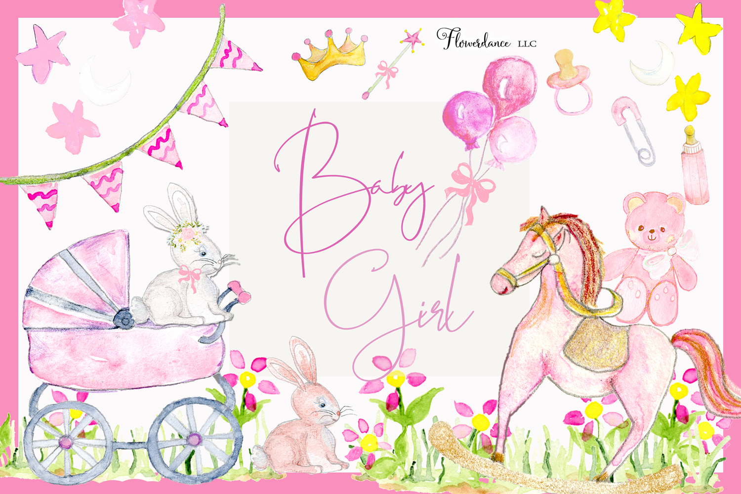 Watercolor Baby Girl Clipart example image 1