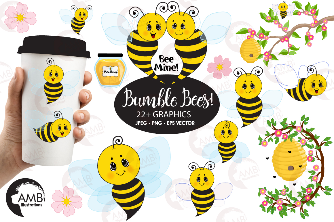 Bumble bee cliparts, graphics, illustrations AMB-921 example image 1