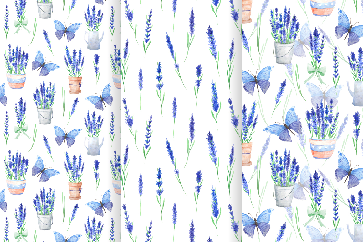 Lavender Watercolor Seamless Patterns example image 5