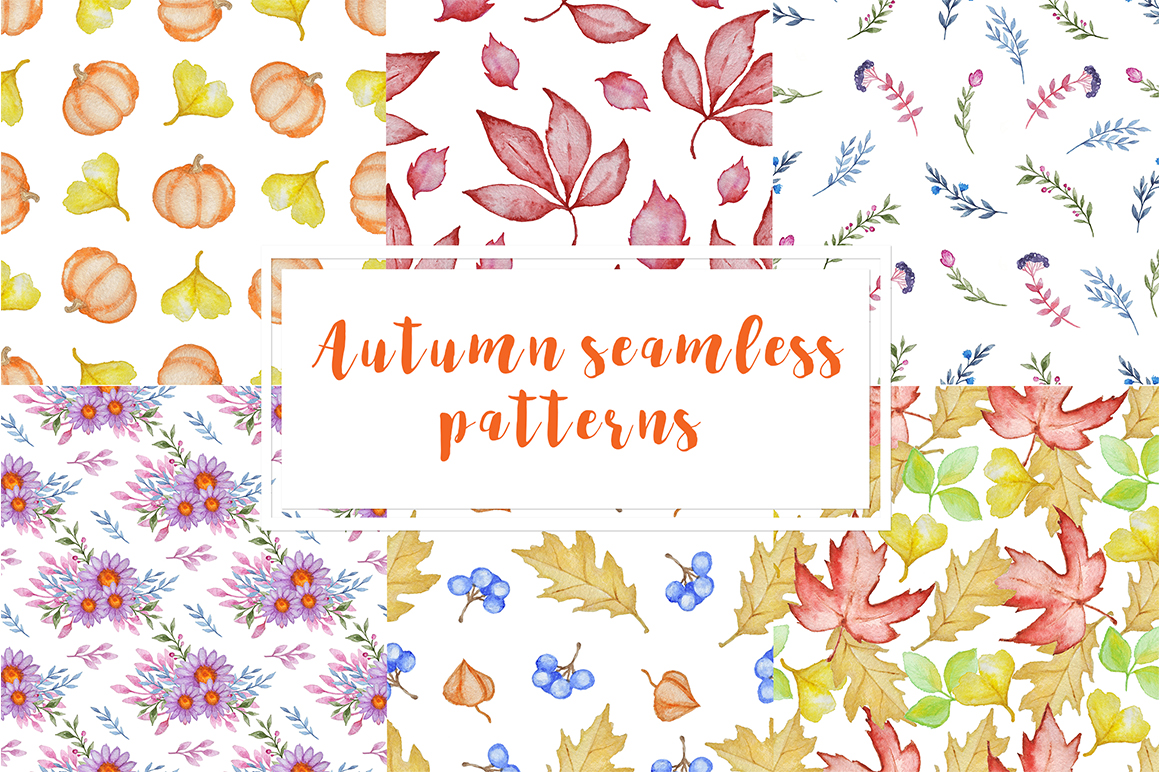 Watercolor Autumn Design Kit example image 6