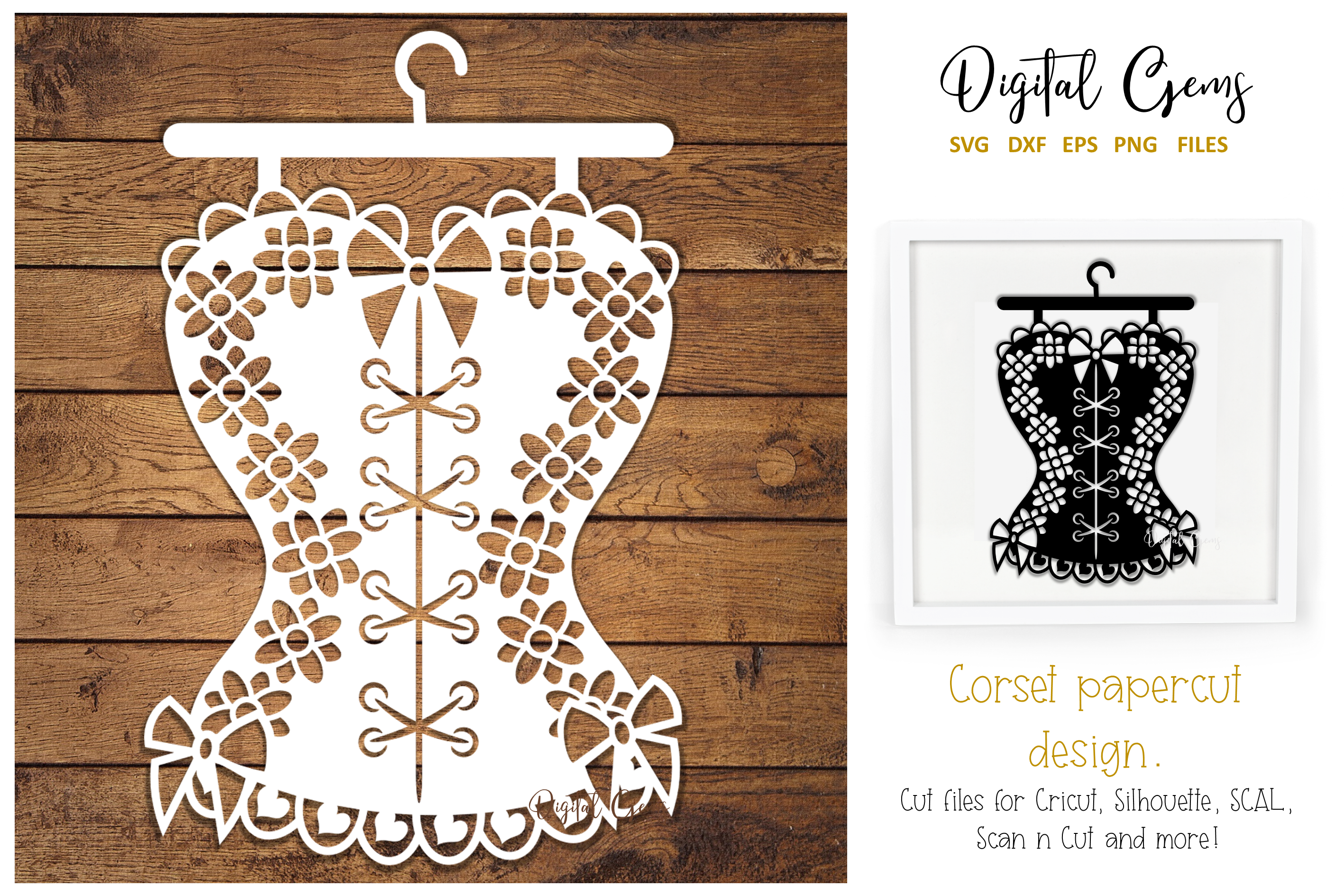 Corset paper cut design SVG / DXF / EPS / PNG files example image 1