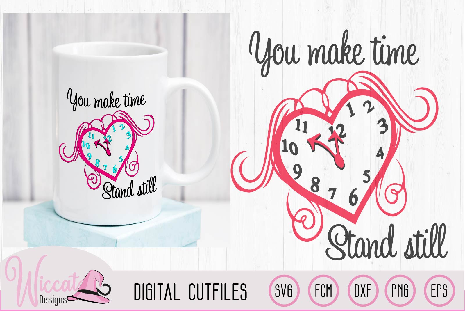 Valentine Clock Heart svg, Love quote svg, example image 1