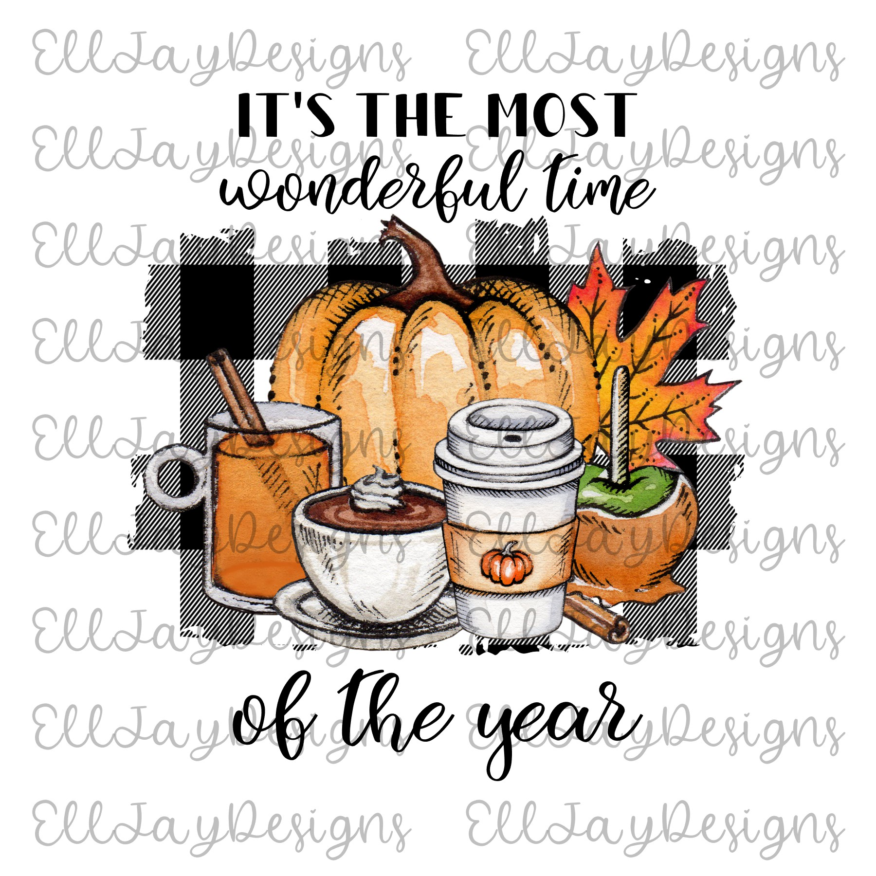 6 Plaid Pumpkin Sublimation Designs example image 6