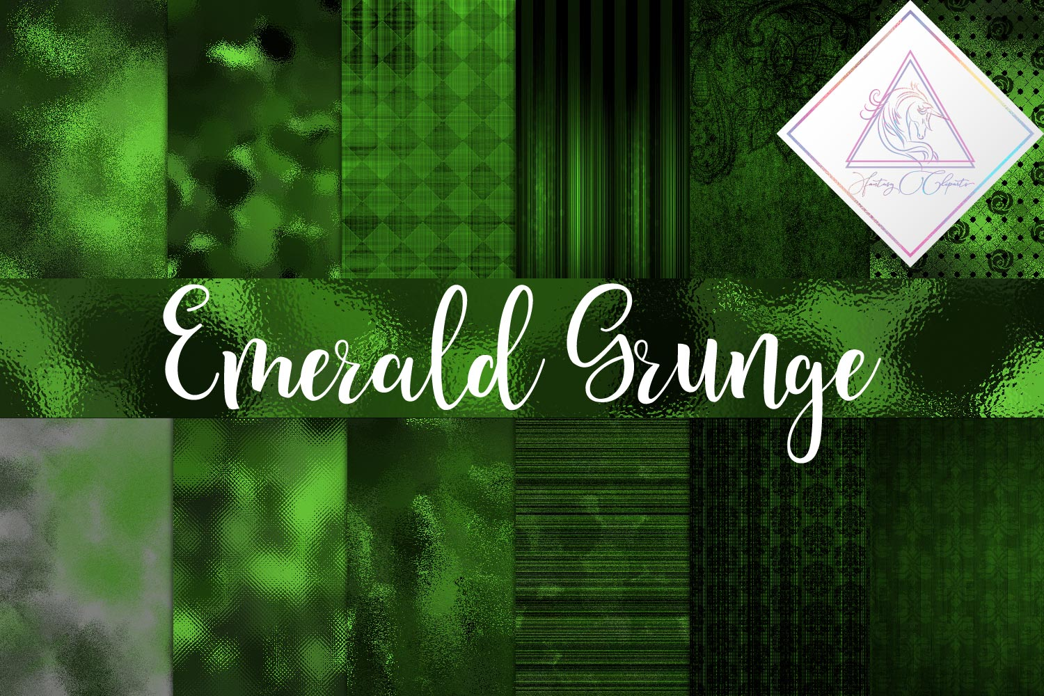 Emerald Grunge Digital Paper example image 1