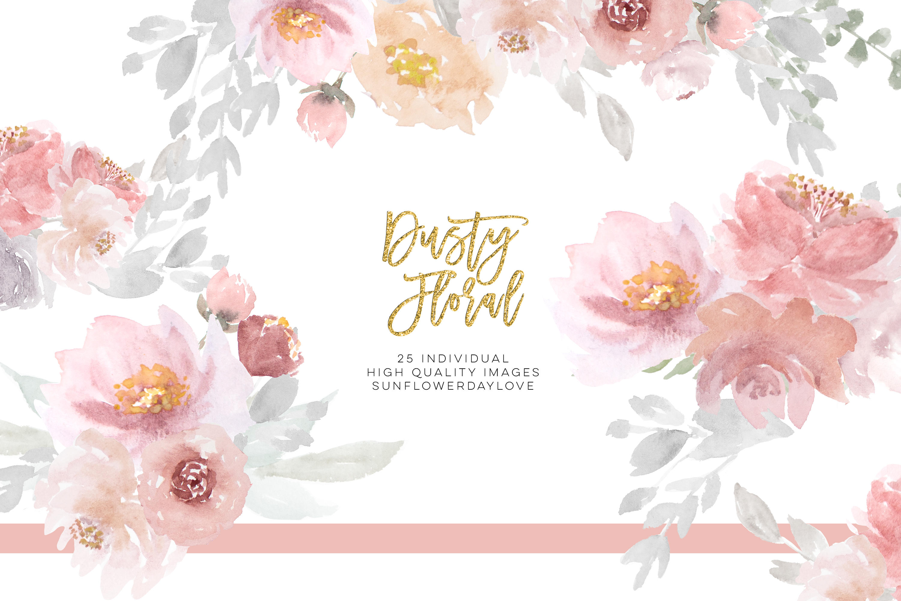 Dusty rose floral clipart, Wedding Invitation Clip Art example image 1