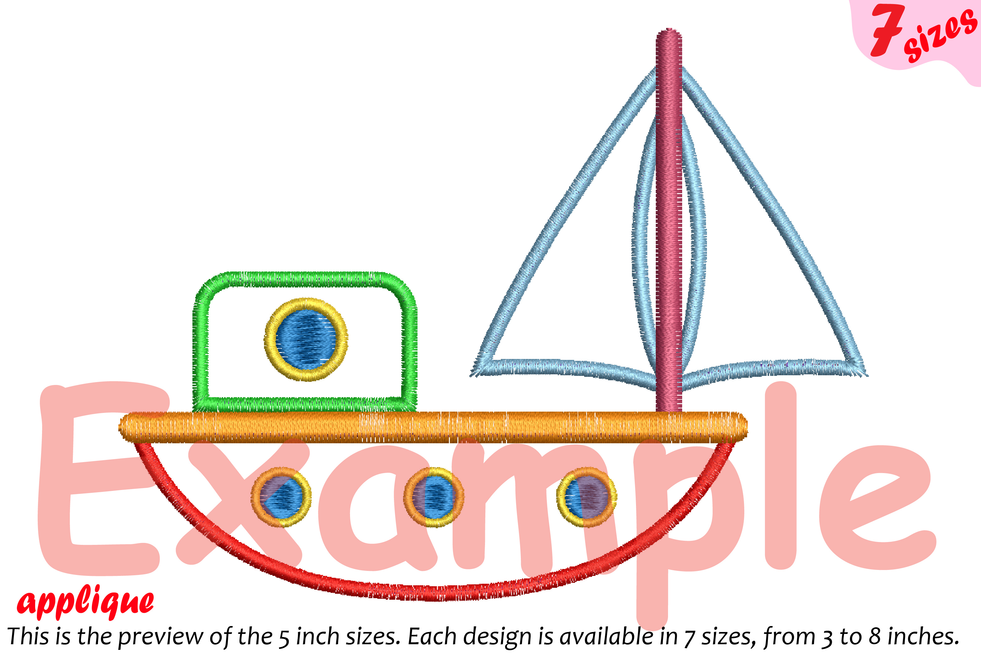 Sailboat Toy Applique Designs for Embroidery Machine Instant Download Commercial Use symbol outline cartoon boat toys yacht ship 19a example image 4