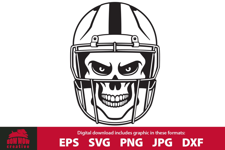 Skull Wearing Football Helmet SVG, EPS, JPG, PNG, DXF example image 1