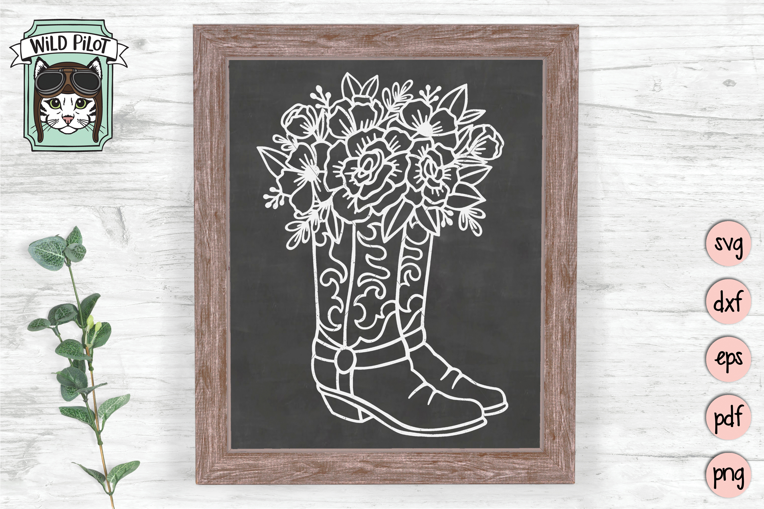 Floral Cowboy Boots svg file, Country, Rodeo, Cowgirl example image 2