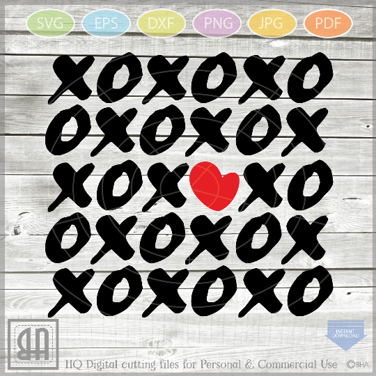 XOXO Svg - Hugs and Kisses svg - Valentine SVG - San Valenti example image 1