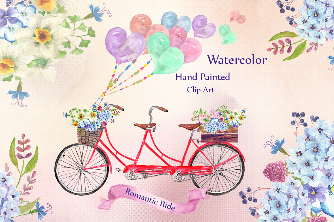 Watercolor bouquets clipart example image 1