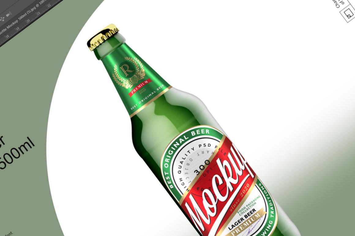 Green Glass Beer Bottle Mockup 500ml example image 6