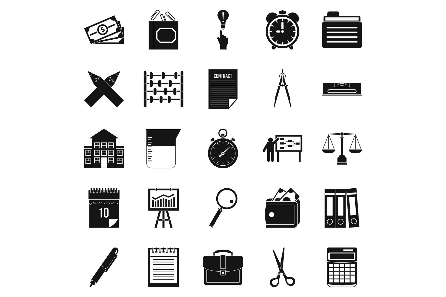 Calculator icons set, simple style example image 1
