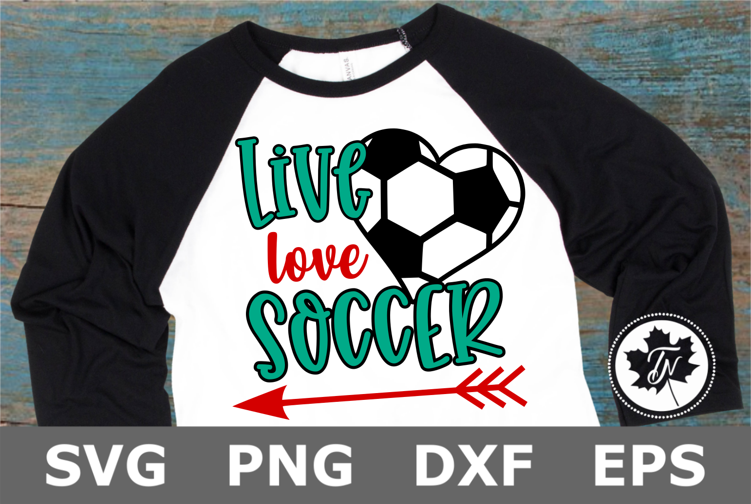 Live Love Soccer Heart - A Sports SVG Cut File example image 2