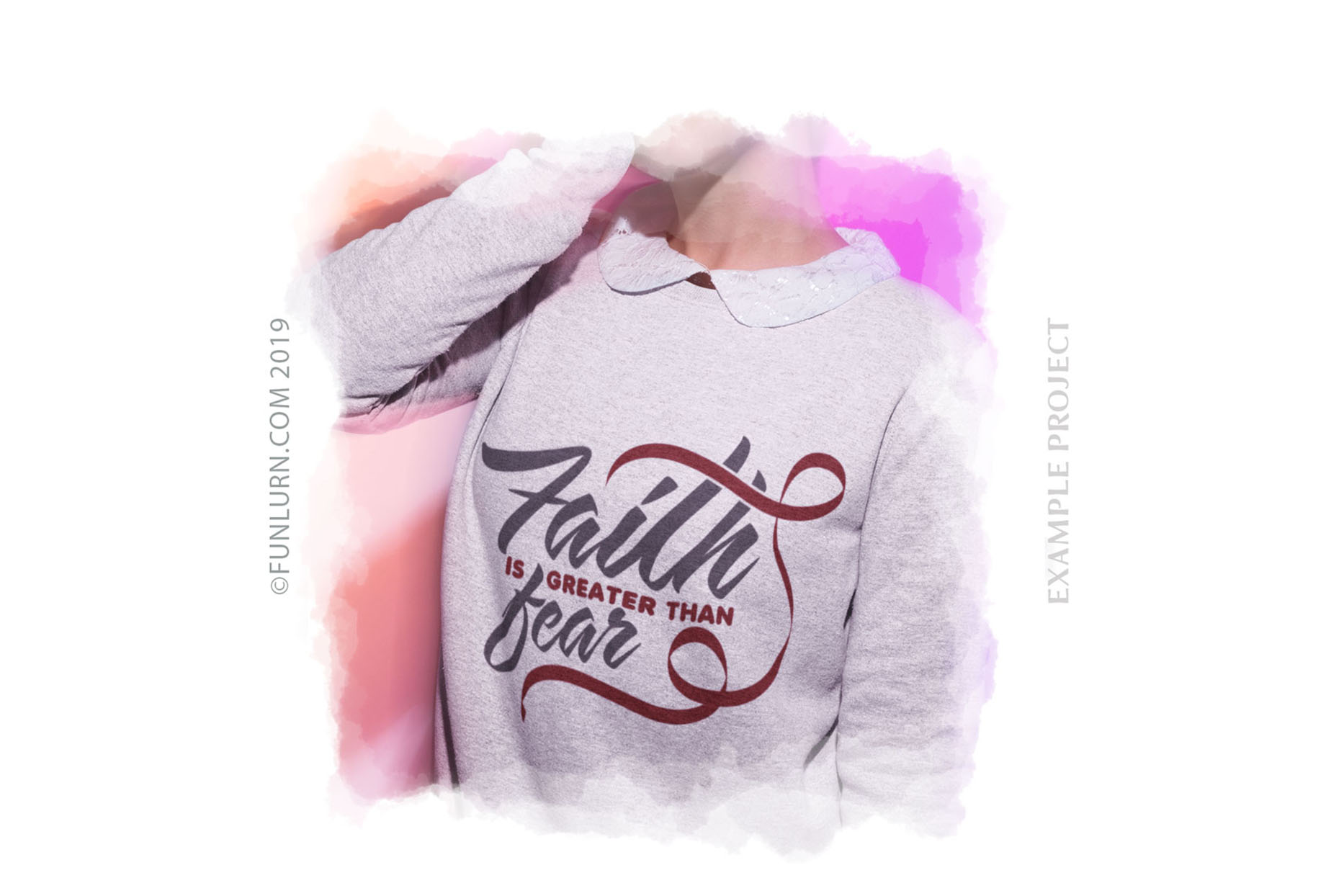 Faith is Greater Than Fear Burgundy Ribbon SVG Cut File example image 3