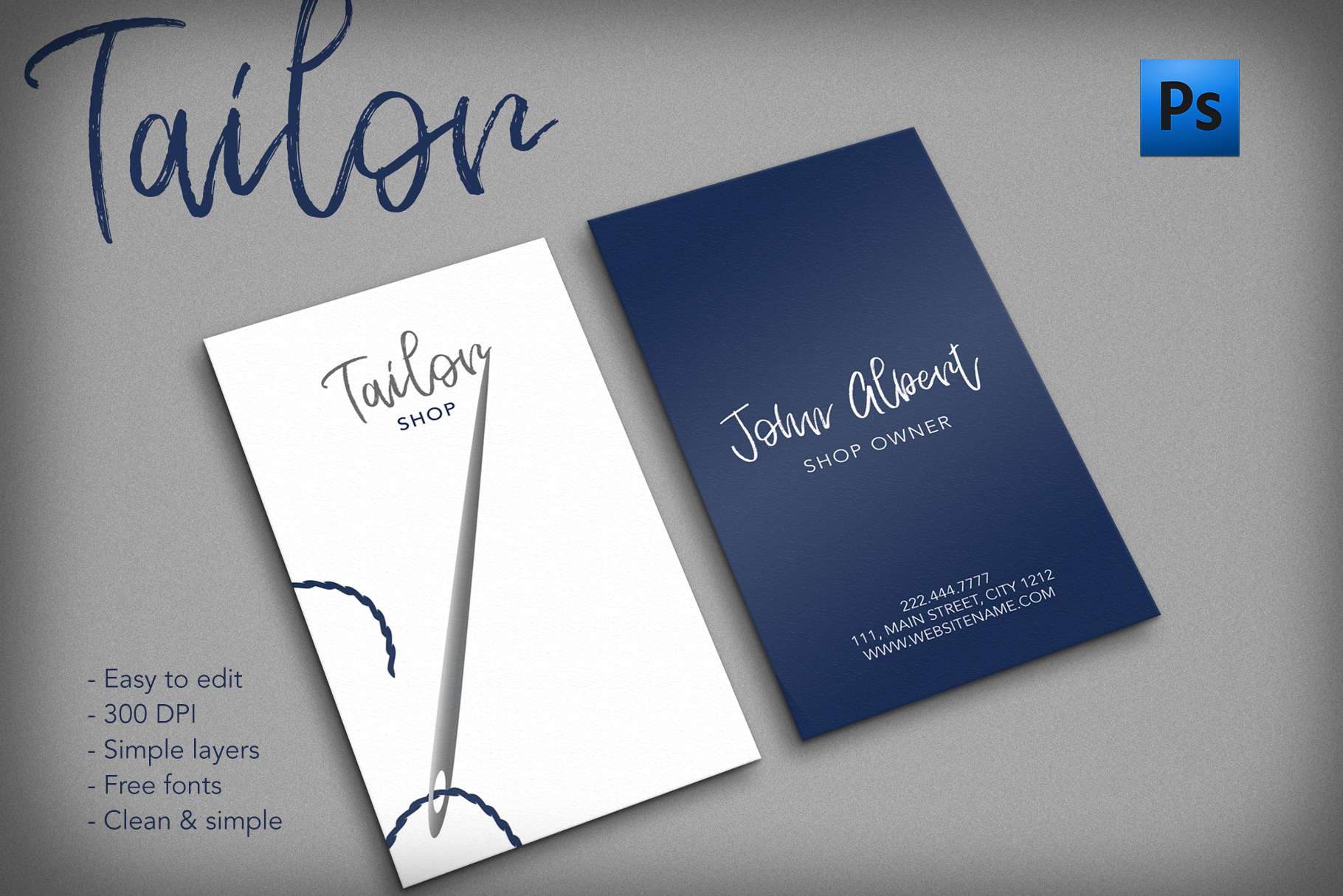 Tailor shop creative business card example image 1