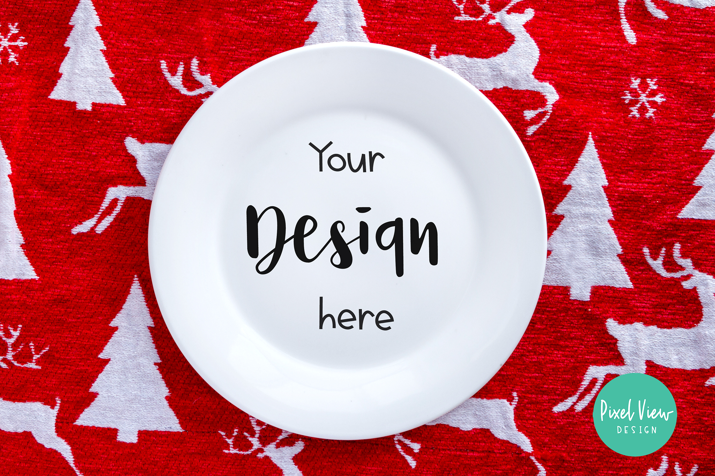 White Plate Mock-up | Christmas example image 1
