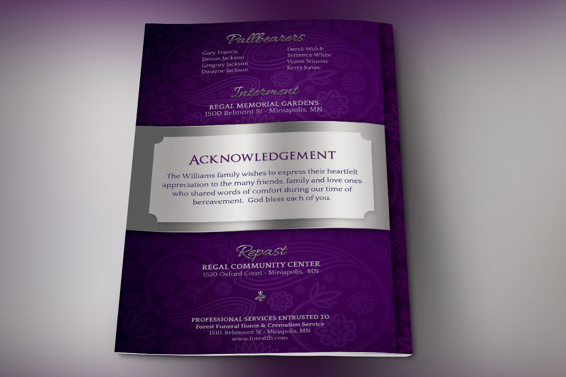 Lavender Dignity Funeral Program Template example image 6