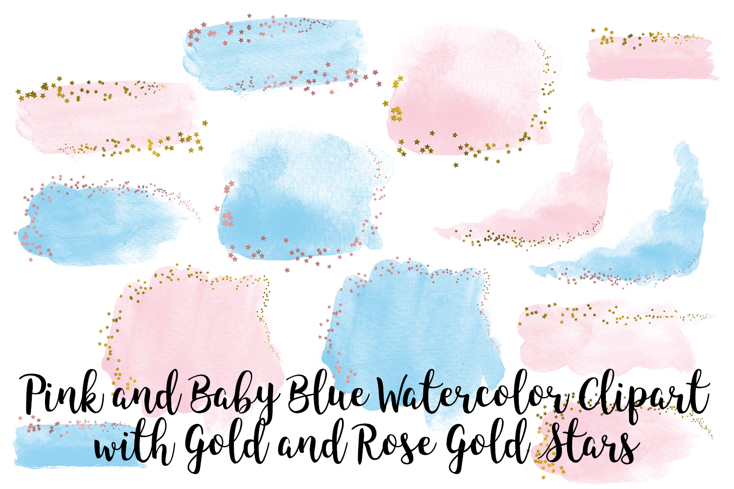 Pink and Baby Blue Watercolor Clip Art, Gold and Rose Gold example image 5
