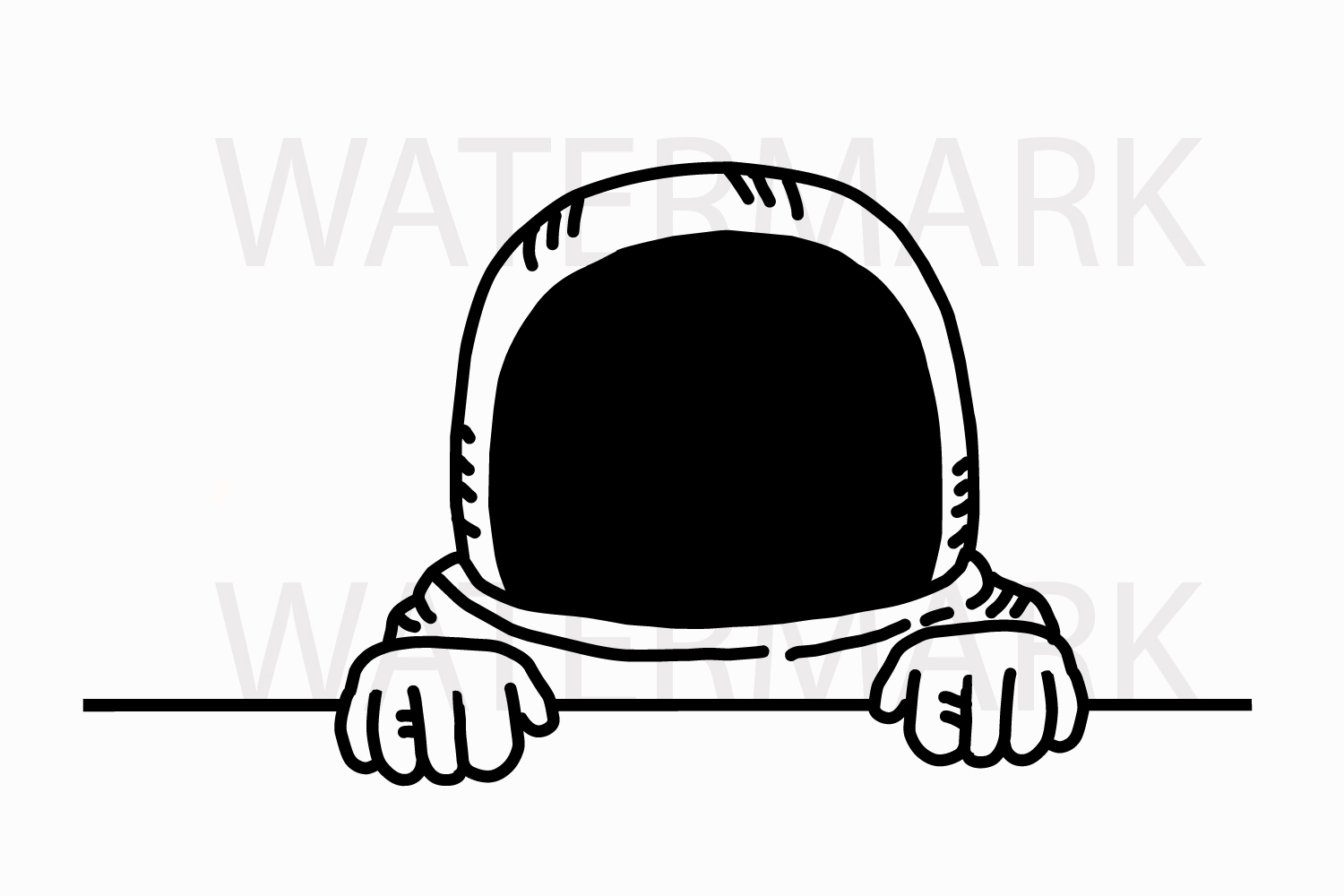 Astronaut Peeping and saying hello - SVG/JPG/PNG Hand Drawing example image 1