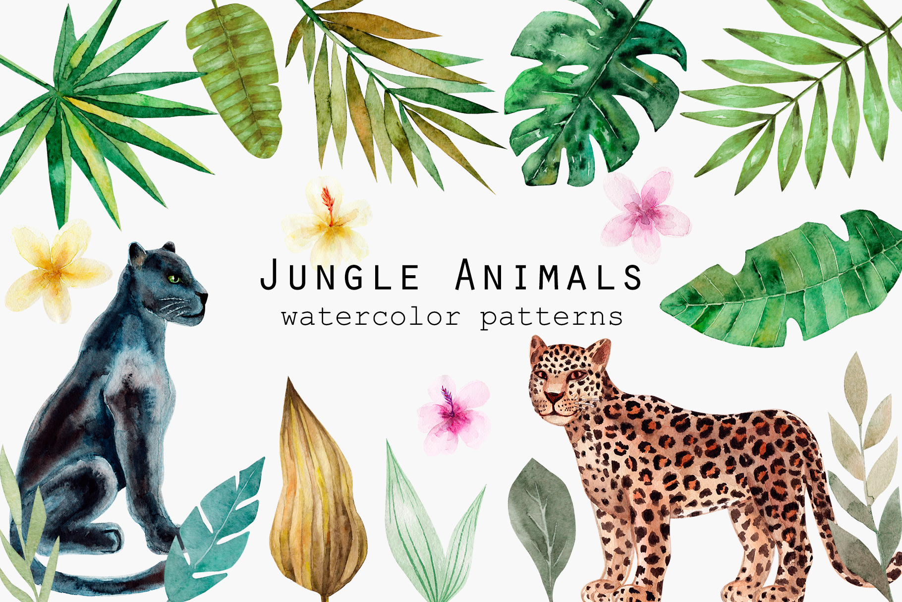 Jungle Animals. Watercolor Patterns example image 1