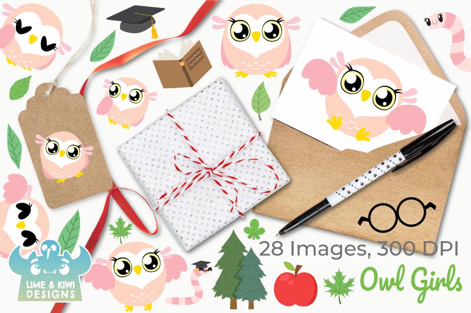 Owl Girls Clipart, Instant Download Vector Art example image 4