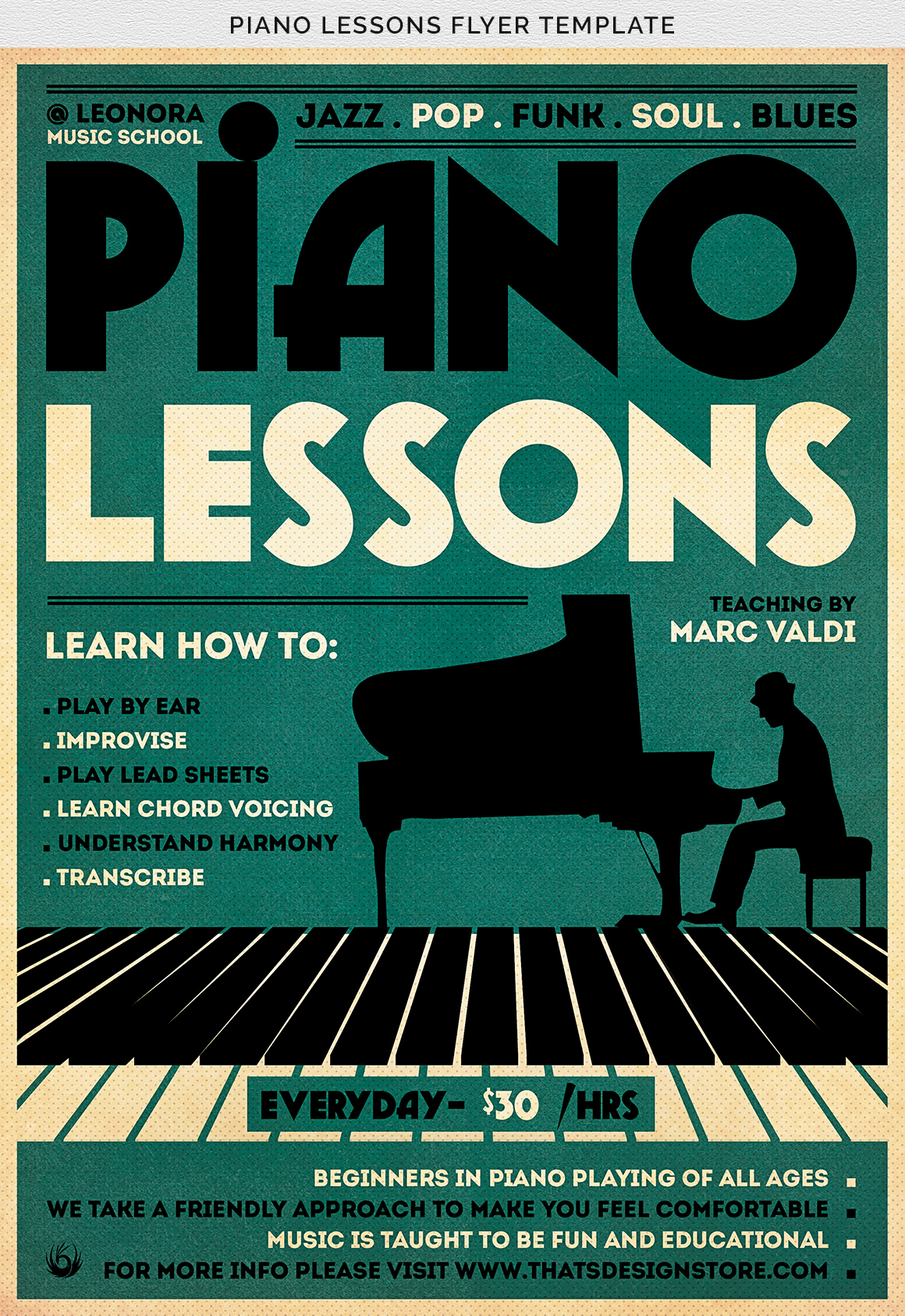 Piano Lessons Flyer Template example image 11