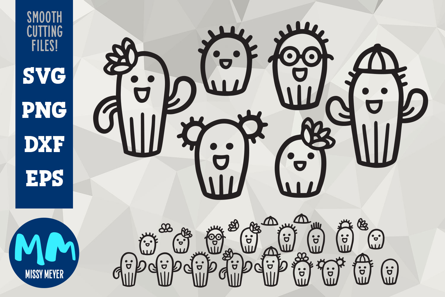 Cactus Family Cartoon Set - cut files for decals! example image 1