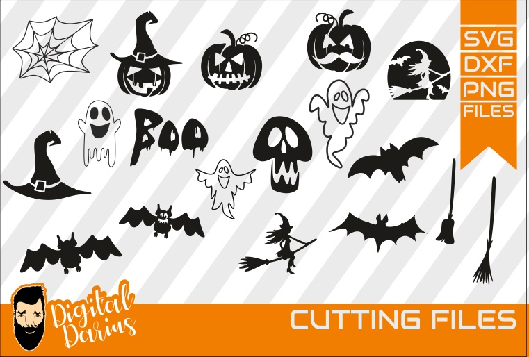 18x Halloween set SVG Bundle, Bats , witch, Ghost, Spooky example image 1
