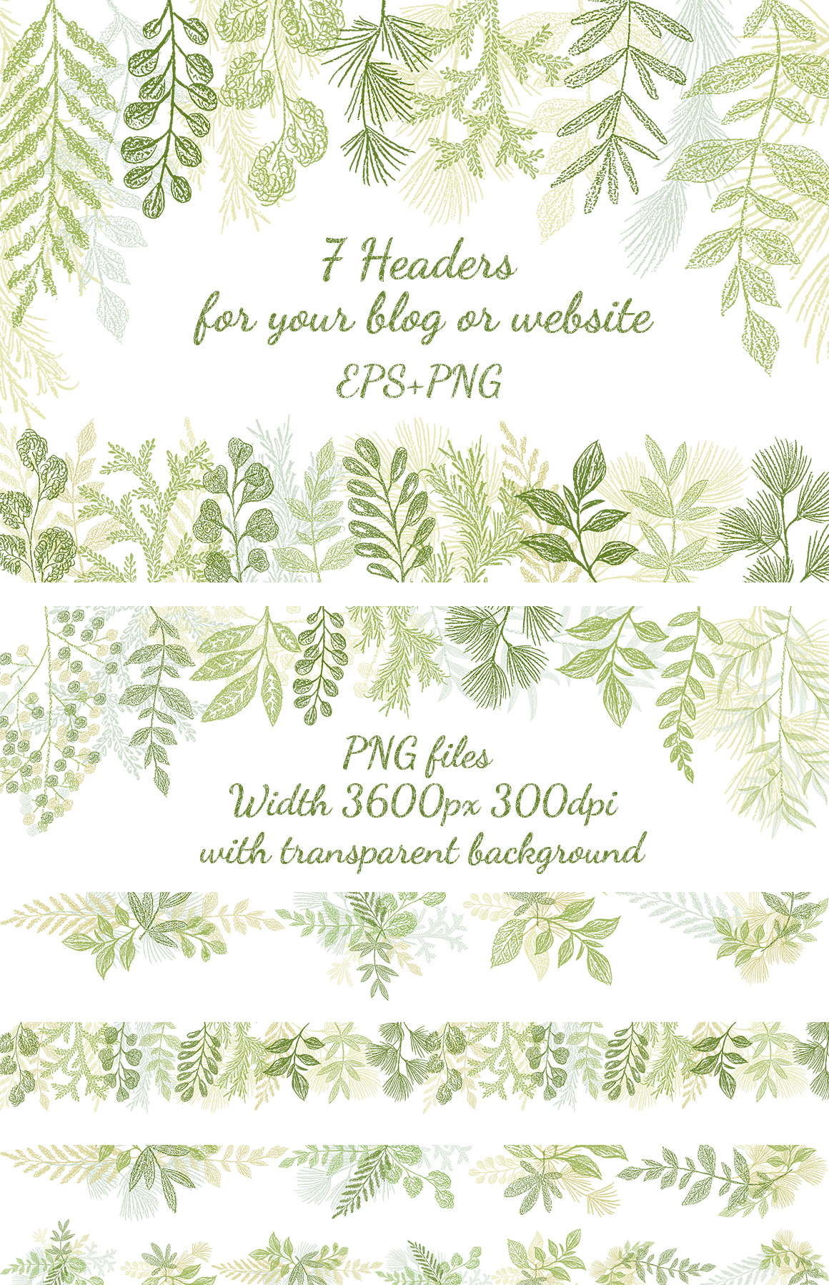 Hand drawn Leaves Branches & Herbs Fresh Doodle collection example image 6