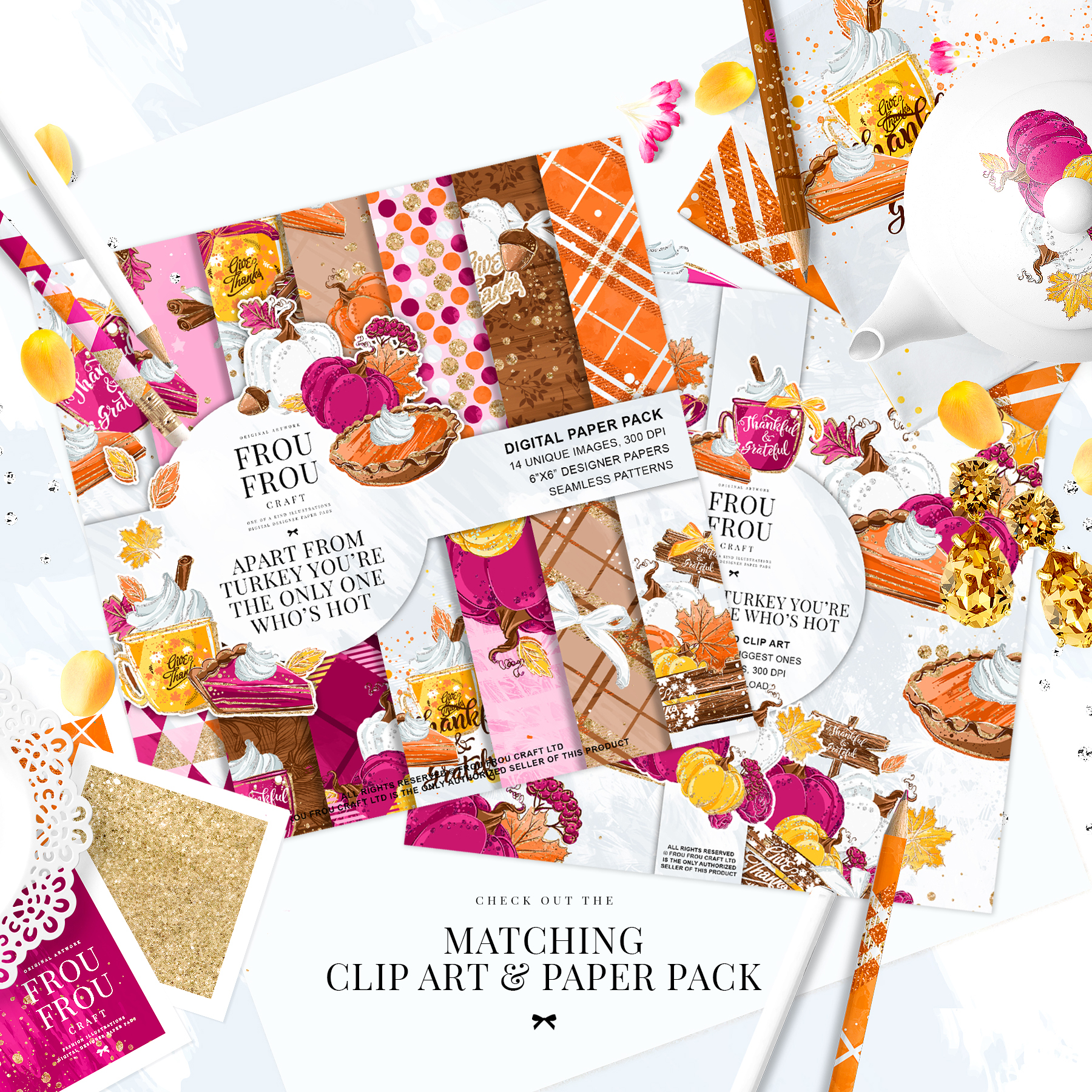 Sweets Cake Pumpkin Pie Fall Autumn Paper Pack example image 6