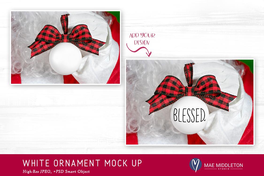 Christmas Mock up - Santa's White Ornament example image 2