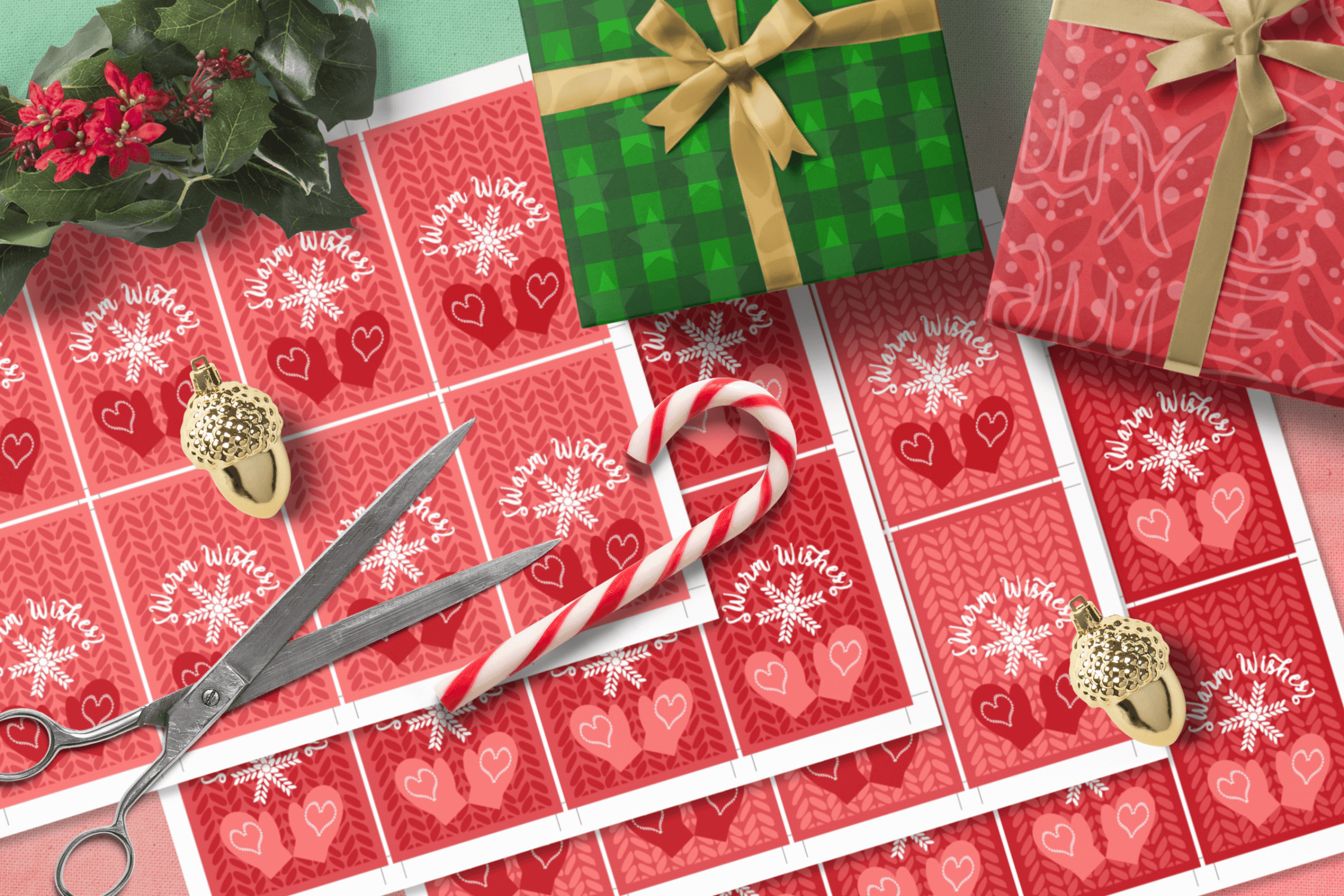 Printable Warm Wishes Red Tags Knitting Branding Tags example image 7
