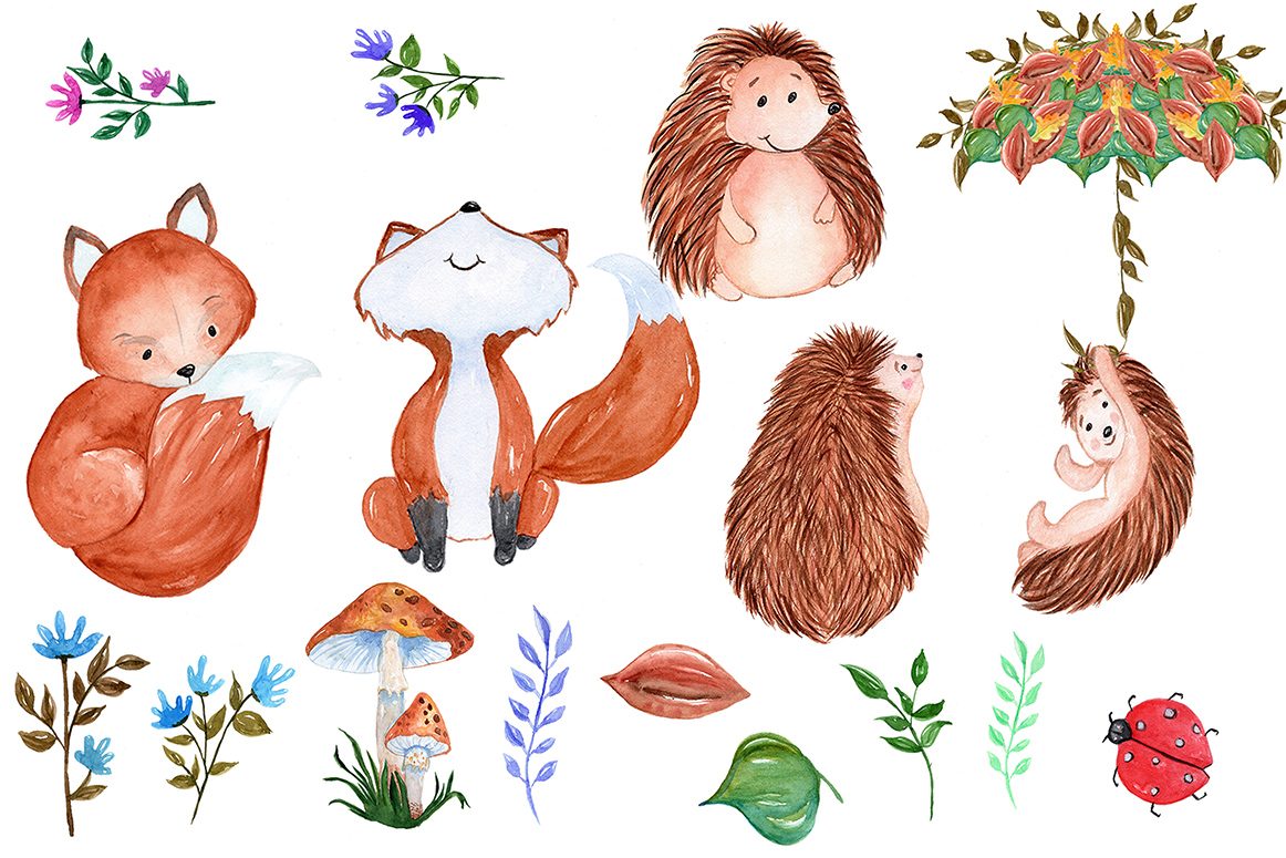 Woodland animals clipart example image 2