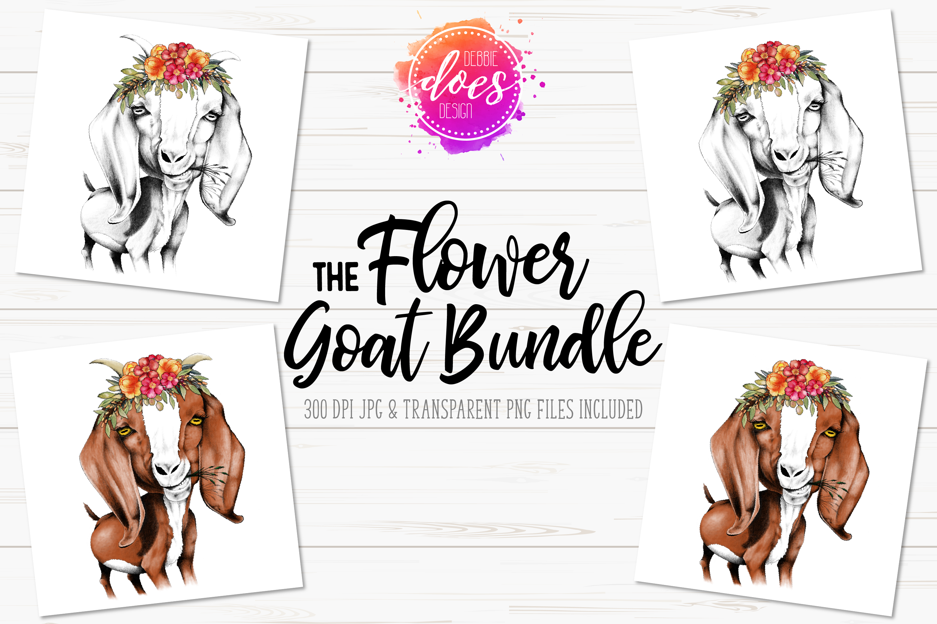 The Flower Hand Drawn Goat Bundle example image 1